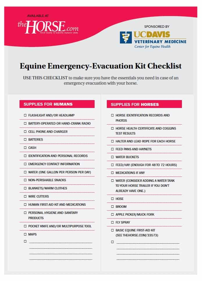 Equine Emergency-Evacuation Kit Checklist