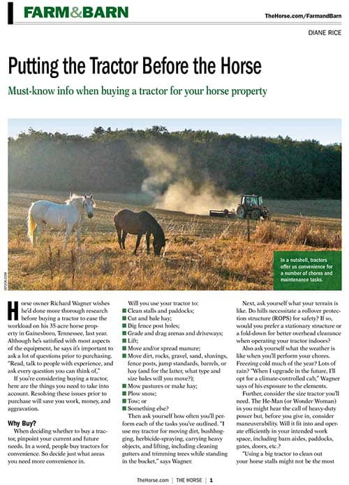 Putting the Tractor Before the Horse – The Horse