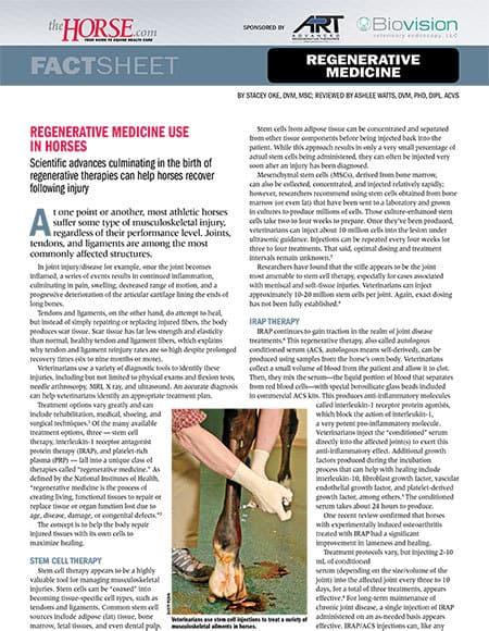 Regenerative Medicine Use in Horses