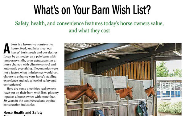 What's on Your Horse Barn Wish List?